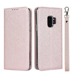 Ultra Slim Magnetic Automatic Suction Silk Lanyard Leather Flip Cover for Samsung Galaxy S9 - Rose Gold