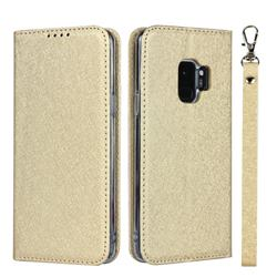 Ultra Slim Magnetic Automatic Suction Silk Lanyard Leather Flip Cover for Samsung Galaxy S9 - Golden
