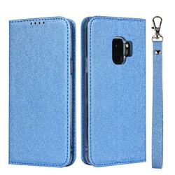 Ultra Slim Magnetic Automatic Suction Silk Lanyard Leather Flip Cover for Samsung Galaxy S9 - Sky Blue