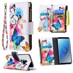 Vivid Flying Butterflies Binfen Color BF03 Retro Zipper Leather Wallet Phone Case for Samsung Galaxy S9