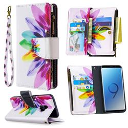 Seven-color Flowers Binfen Color BF03 Retro Zipper Leather Wallet Phone Case for Samsung Galaxy S9