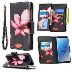 Lotus Flower Binfen Color BF03 Retro Zipper Leather Wallet Phone Case for Samsung Galaxy S9