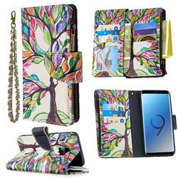 The Tree of Life Binfen Color BF03 Retro Zipper Leather Wallet Phone Case for Samsung Galaxy S9