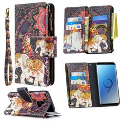 Totem Flower Elephant Binfen Color BF03 Retro Zipper Leather Wallet Phone Case for Samsung Galaxy S9