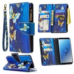 Golden Butterflies Binfen Color BF03 Retro Zipper Leather Wallet Phone Case for Samsung Galaxy S9