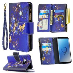 Purple Butterfly Binfen Color BF03 Retro Zipper Leather Wallet Phone Case for Samsung Galaxy S9