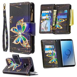 Golden Shining Butterfly Binfen Color BF03 Retro Zipper Leather Wallet Phone Case for Samsung Galaxy S9