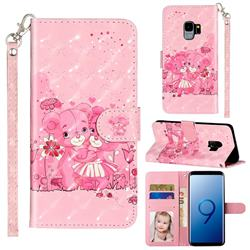 Pink Bear 3D Leather Phone Holster Wallet Case for Samsung Galaxy S9