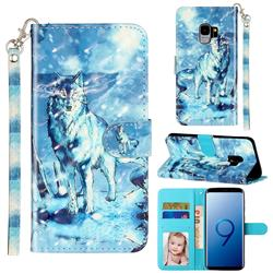 Snow Wolf 3D Leather Phone Holster Wallet Case for Samsung Galaxy S9