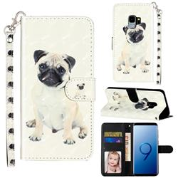 Pug Dog 3D Leather Phone Holster Wallet Case for Samsung Galaxy S9