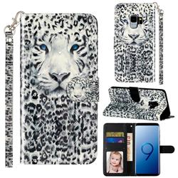 White Leopard 3D Leather Phone Holster Wallet Case for Samsung Galaxy S9