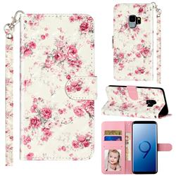 Rambler Rose Flower 3D Leather Phone Holster Wallet Case for Samsung Galaxy S9