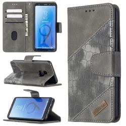 BinfenColor BF04 Color Block Stitching Crocodile Leather Case Cover for Samsung Galaxy S9 - Gray