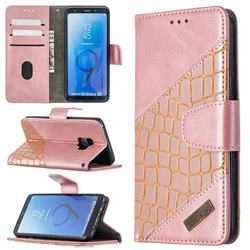 BinfenColor BF04 Color Block Stitching Crocodile Leather Case Cover for Samsung Galaxy S9 - Rose Gold
