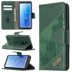 BinfenColor BF04 Color Block Stitching Crocodile Leather Case Cover for Samsung Galaxy S9 - Green