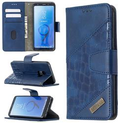 BinfenColor BF04 Color Block Stitching Crocodile Leather Case Cover for Samsung Galaxy S9 - Blue