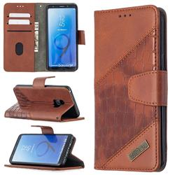 BinfenColor BF04 Color Block Stitching Crocodile Leather Case Cover for Samsung Galaxy S9 - Brown