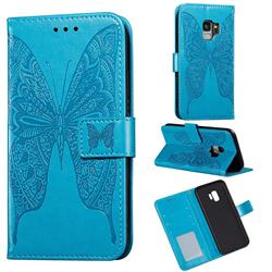 Intricate Embossing Vivid Butterfly Leather Wallet Case for Samsung Galaxy S9 - Blue