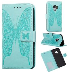 Intricate Embossing Vivid Butterfly Leather Wallet Case for Samsung Galaxy S9 - Green