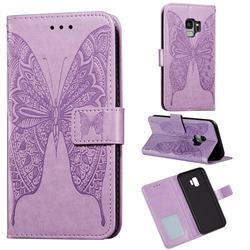 Intricate Embossing Vivid Butterfly Leather Wallet Case for Samsung Galaxy S9 - Purple