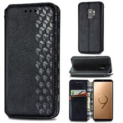 Ultra Slim Fashion Business Card Magnetic Automatic Suction Leather Flip Cover for Samsung Galaxy S9 - Black