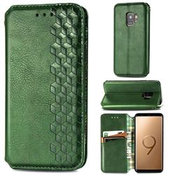 Ultra Slim Fashion Business Card Magnetic Automatic Suction Leather Flip Cover for Samsung Galaxy S9 - Green