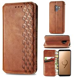 Ultra Slim Fashion Business Card Magnetic Automatic Suction Leather Flip Cover for Samsung Galaxy S9 - Brown