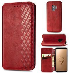 Ultra Slim Fashion Business Card Magnetic Automatic Suction Leather Flip Cover for Samsung Galaxy S9 - Red