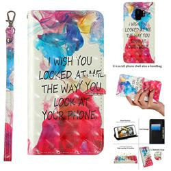 Look at Phone 3D Painted Leather Wallet Case for Samsung Galaxy S9