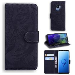 Intricate Embossing Tiger Face Leather Wallet Case for Samsung Galaxy S9 - Black