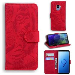 Intricate Embossing Tiger Face Leather Wallet Case for Samsung Galaxy S9 - Red