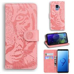 Intricate Embossing Tiger Face Leather Wallet Case for Samsung Galaxy S9 - Pink