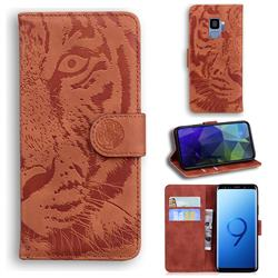 Intricate Embossing Tiger Face Leather Wallet Case for Samsung Galaxy S9 - Brown