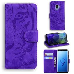 Intricate Embossing Tiger Face Leather Wallet Case for Samsung Galaxy S9 - Purple