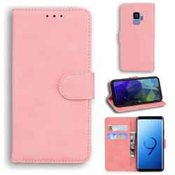 Retro Classic Skin Feel Leather Wallet Phone Case for Samsung Galaxy S9 - Pink
