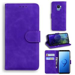 Retro Classic Skin Feel Leather Wallet Phone Case for Samsung Galaxy S9 - Purple