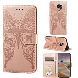 Intricate Embossing Rose Flower Butterfly Leather Wallet Case for Samsung Galaxy S9 - Rose Gold