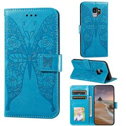 Intricate Embossing Rose Flower Butterfly Leather Wallet Case for Samsung Galaxy S9 - Blue
