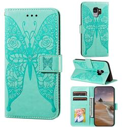 Intricate Embossing Rose Flower Butterfly Leather Wallet Case for Samsung Galaxy S9 - Green