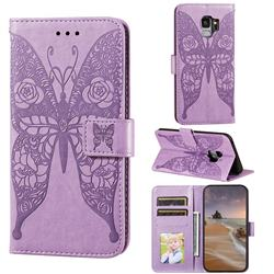 Intricate Embossing Rose Flower Butterfly Leather Wallet Case for Samsung Galaxy S9 - Purple