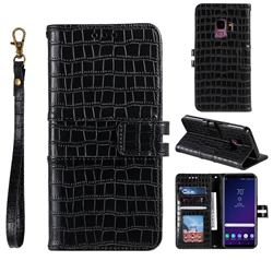 Luxury Crocodile Magnetic Leather Wallet Phone Case for Samsung Galaxy S9 - Black