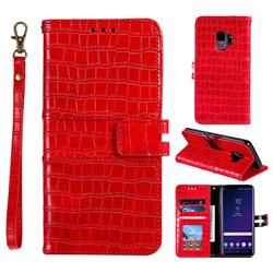 Luxury Crocodile Magnetic Leather Wallet Phone Case for Samsung Galaxy S9 - Red