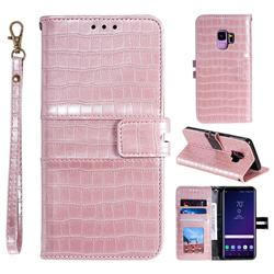 Luxury Crocodile Magnetic Leather Wallet Phone Case for Samsung Galaxy S9 - Rose Gold