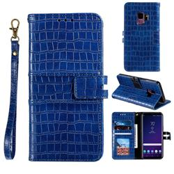 Luxury Crocodile Magnetic Leather Wallet Phone Case for Samsung Galaxy S9 - Blue