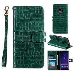 Luxury Crocodile Magnetic Leather Wallet Phone Case for Samsung Galaxy S9 - Green