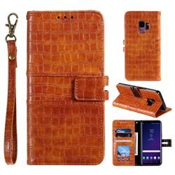 Luxury Crocodile Magnetic Leather Wallet Phone Case for Samsung Galaxy S9 - Brown