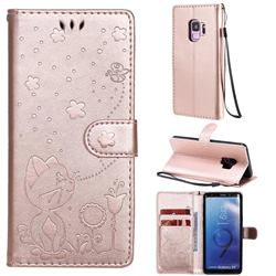 Embossing Bee and Cat Leather Wallet Case for Samsung Galaxy S9 - Rose Gold