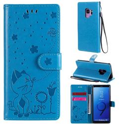 Embossing Bee and Cat Leather Wallet Case for Samsung Galaxy S9 - Blue