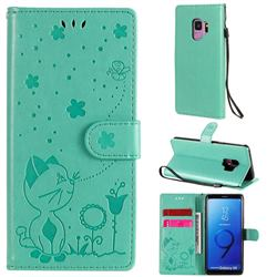 Embossing Bee and Cat Leather Wallet Case for Samsung Galaxy S9 - Green