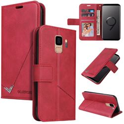 GQ.UTROBE Right Angle Silver Pendant Leather Wallet Phone Case for Samsung Galaxy S9 - Red